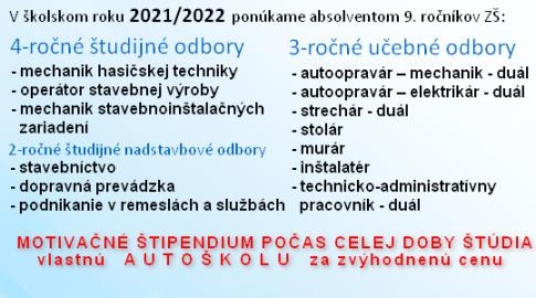 Ponuka odborov pre školský rok 2021/2022
